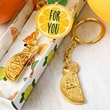 FashionCraft Gold-Metal-Finish Citrus Slice Key Chain