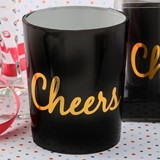 FashionCraft Black and Gold Script Cheers Candle Holder with Candle