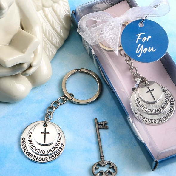 FashionCraft Silver-Colored-Metal 3-Disc 'In Loving Memory' Key Chain
