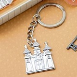 FashionCraft Silver Fairytale Castle-Shaped Cast-Metal Key Chain