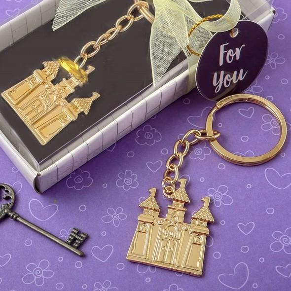 FashionCraft Gold Fairytale Castle-Shaped Cast-Metal Key Chain