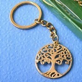 FashionCraft Gold Tree of Life and Family Cast-Metal Key Chain
