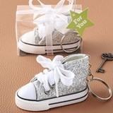 Canvas Hi-Top Shape Mini Sneaker with Sparkle Silver Glitter Covering