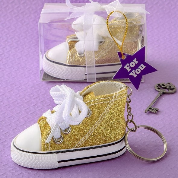 Canvas Hi-Top Shape Mini Sneaker with Sparkling Gold Glitter Covering
