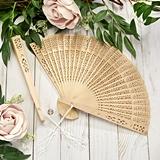 FashionCraft Intricately-Carved Sandalwood Folding Fan Favor