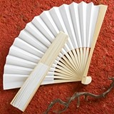 FashionCraft Elegant White Folding Paper Fan Favor
