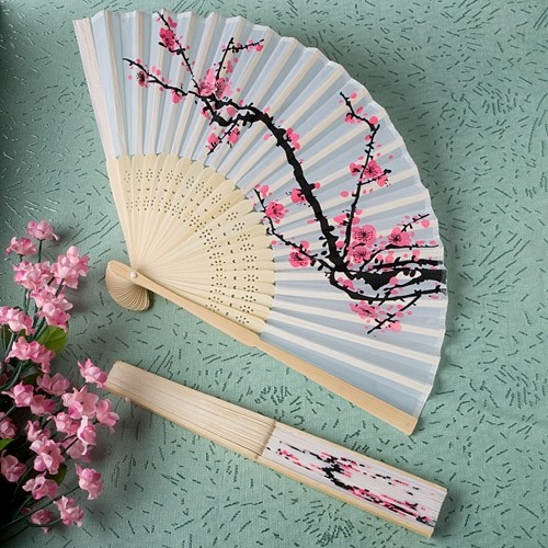 FashionCraft Delicate Cherry Blossom Design Silk Folding Fan Favor