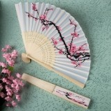 FashionCraft Delicate Cherry Blossom Design Silk Folding Fan Favor