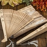 FashionCraft Intricately-Carved Sandalwood Fans (Set of 10)