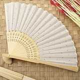 FashionCraft Silk Folding Fan with Gold Dots Pattern
