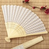 FashionCraft Silk Folding Fan with Stunning Silver Scallop Motif