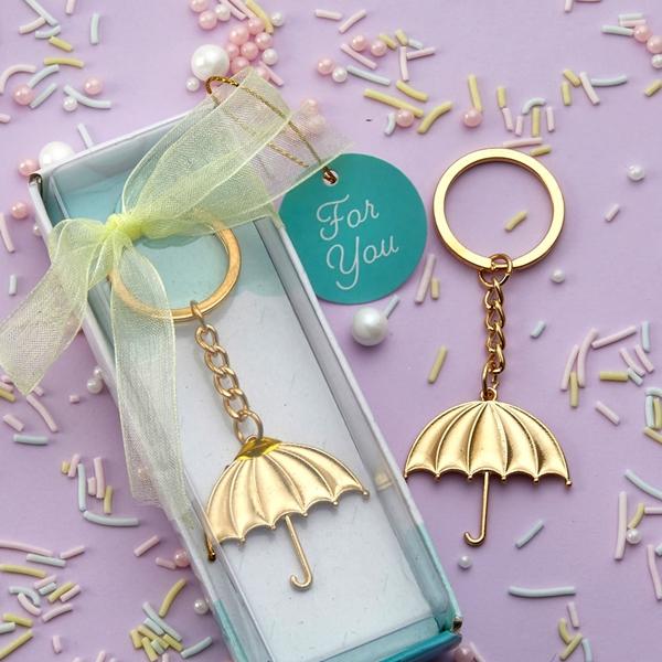 FashionCraft Gold-Metal Umbrella Charm Key Chain