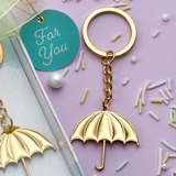 FashionCraft Gold-Metal Umbrella Charm Key Chain