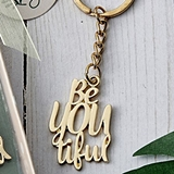 FashionCraft Be-YOU-tiful Design Gold-Colored-Metal Key Chain