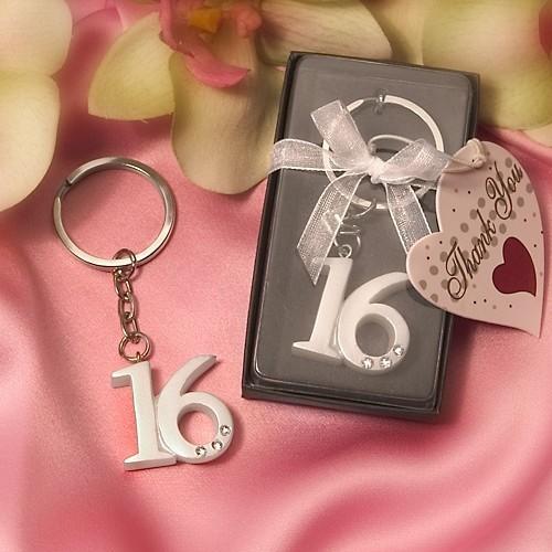 FashionCraft Bold Rhinestone-Accented Sweet 16 Keyring
