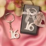 Bold Rhinestone-Accented Sweet 16 Keyring
