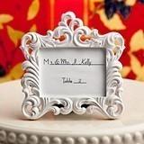 FashionCraft White Ornate Baroque Design Frame/Place Card Holder