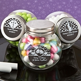Personalized Chalk Board Collection Glass Candy Jar with Metal Lid