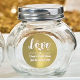 Personalized Metallics Collection Glass Candy Jar with Metal Lid