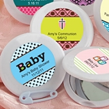 Expressions Collection Personalized White Compact Mirror (Baby Shower)