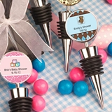 FashionCraft Wine Bottle Stoppers with Custom Baby Shower Stickers