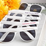 FashionCraft Personalized Text Silk-Screened onto White Sunglasses