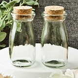 Perfectly Plain Collection Vintage Milk Bottles with Round Cork Tops