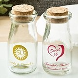 Personalized Vintage Milk Bottle w/ Round Cork Tops (Birthday Designs)