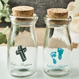 Personalized Vintage Milk Bottle with Round Cork Tops (Baby Shower)