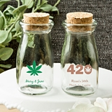 Personalized Vintage Milk Bottle w/ Round Cork Tops (Cannabis Designs)