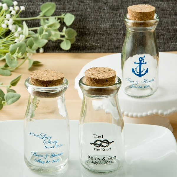 Design Your Own Personalized Vintage Milk Bottles with Round Cork Tops
