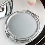 FashionCraft Perfectly Plain Collection Silver Metal Compact Mirror