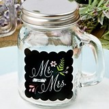 FashionCraft Sayings Collection Mr & Mrs Design Glass Mason Jar
