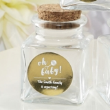 Personalized Metallics Collection Square Glass Treat Jar (Baby Shower)