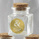 Personalized Metallics Collection Square Glass Treat Jar with Cork Top