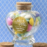 Personalized Metallics Collection Heart-Shaped Glass Jar (Birthday)