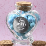 Personalized Metallics Collection Heart-Shaped Glass Jar with Cork Top