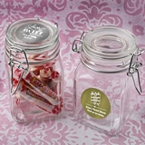 Personalized Metallics Collection Glass Apothecary Jar with Hinged Top