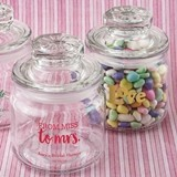 Screen-Printed Personalized Mini Glass Cookie Jar with Sealed Cover