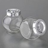 Perfectly Plain Collection Large Glass Candy Jar w/ Silver-Plated Cap