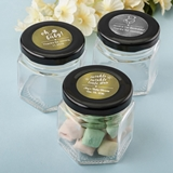 Personalized Metallics Small Hex Jar with Black Screwtop (Baby Shower)
