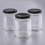 Perfectly Plain Hexagonal-Shaped Glass Jelly Jar with Black Metal Lid