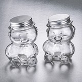 Perfectly Plain Teddy Bear Glass Jar with Silver-Metal Screw-On Lid