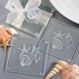 FashionCraft Magnificent Beach-Themed Glass Coasters (Set of 2)