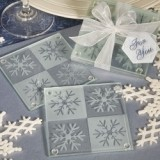 FashionCraft Lustrous Snowflake Glass Coasters (Set of 2)