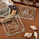FashionCraft Nautical-Themed Clear Glass Coasters (Set of 2)