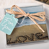 FashionCraft Beach-Themed Love, Sand & Waves Glass Coasters (Set of 2)