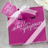 FashionCraft 'Hello Gorgeous' Hot Pink Glass Coasters (Set of 2)