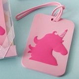 FashionCraft Pink Unicorn Design Rubber Luggage Tag