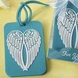 FashionCraft Turquoise Guardian Angel Wings Design Rubber Luggage Tag
